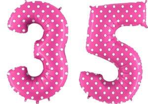 Luftballon Zahl 35 Zahlenballon pink mit weißen Punkten (100 cm)