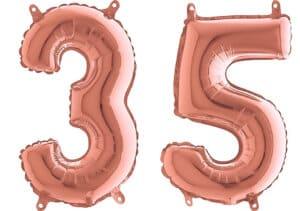 Luftballon Zahl 35 Zahlenballon rosegold (66 cm)