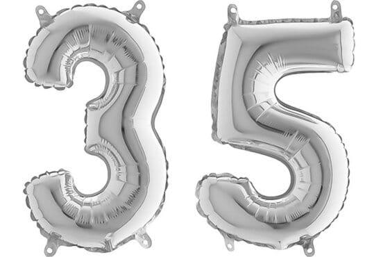 Luftballon Zahl 35 Zahlenballon silber (66 cm)