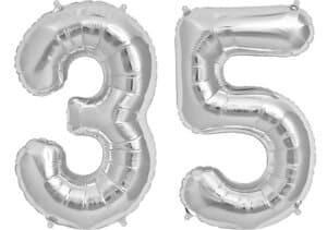 Luftballon Zahl 35 Zahlenballon silber (86 cm)