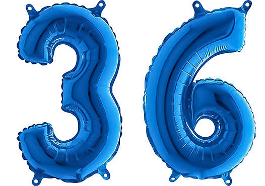 Luftballon Zahl 36 Zahlenballon blau (66 cm)