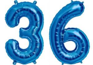 Luftballon Zahl 36 Zahlenballon blau (86 cm)
