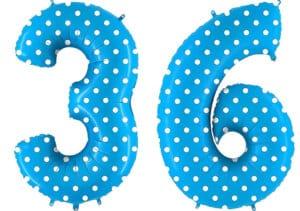Luftballon Zahl 36 Zahlenballon blau mit weißen Punkten (100 cm)
