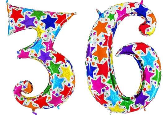 Luftballon Zahl 36 Zahlenballon silber mit bunten Sternen (100 cm)