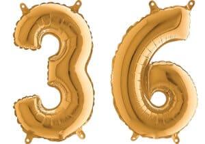 Luftballon Zahl 36 Zahlenballon gold (66 cm)