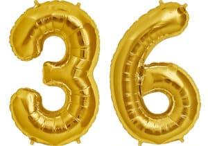 Luftballon Zahl 36 Zahlenballon gold (86 cm)