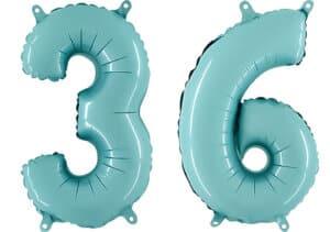 Luftballon Zahl 36 Zahlenballon pastell-blau (100 cm)