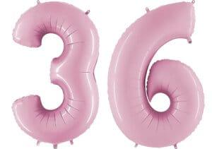 Luftballon Zahl 36 Zahlenballon pastell-pink (100 cm)