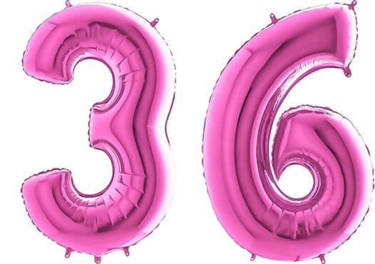 Luftballon Zahl 36 Zahlenballon pink (66 cm)