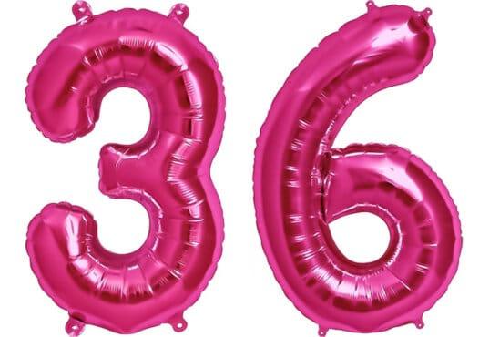 Luftballon Zahl 36 Zahlenballon pink (86 cm)
