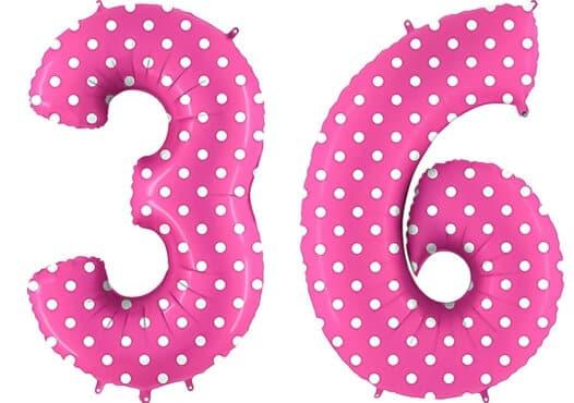 Luftballon Zahl 36 Zahlenballon pink mit weißen Punkten (100 cm)