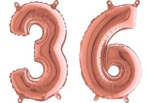 Luftballon Zahl 36 Zahlenballon rosegold (66 cm)