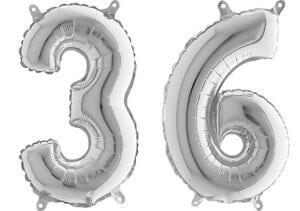 Luftballon Zahl 36 Zahlenballon silber (66 cm)