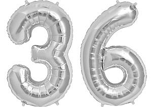 Luftballon Zahl 36 Zahlenballon silber (86 cm)