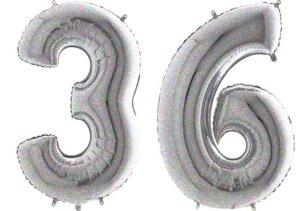 Luftballon Zahl 36 Zahlenballon silber-holographic (100 cm)