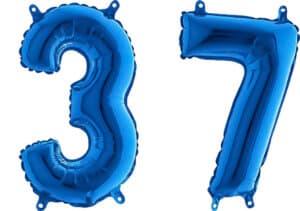 Luftballon Zahl 37 Zahlenballon blau (66 cm)