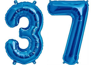 Luftballon Zahl 37 Zahlenballon blau (86 cm)