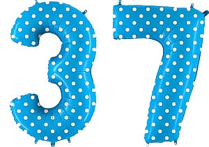Luftballon Zahl 37 Zahlenballon blau mit weißen Punkten (100 cm)