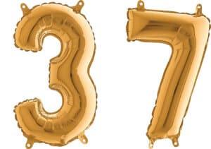 Luftballon Zahl 37 Zahlenballon gold (66 cm)