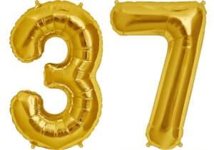 Luftballon Zahl 37 Zahlenballon gold (86 cm)