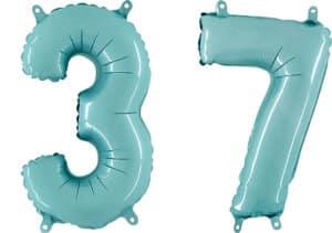 Luftballon Zahl 37 Zahlenballon pastell-blau (100 cm)