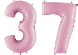 Luftballon Zahl 37 Zahlenballon pastell-pink (100 cm)