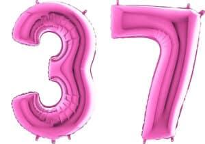 Luftballon Zahl 37 Zahlenballon pink (66 cm)