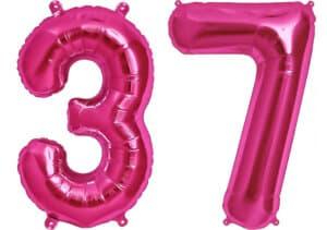Luftballon Zahl 37 Zahlenballon pink (86 cm)