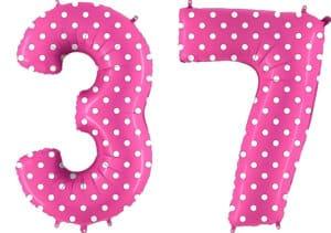 Luftballon Zahl 37 Zahlenballon pink mit weißen Punkten (100 cm)
