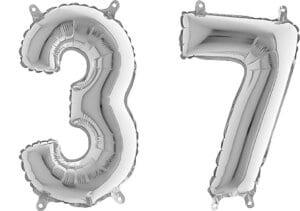 Luftballon Zahl 37 Zahlenballon silber (66 cm)