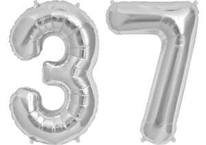 Luftballon Zahl 37 Zahlenballon silber (86 cm)