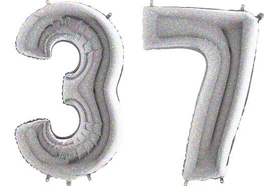 Luftballon Zahl 37 Zahlenballon silber-holographic (100 cm)