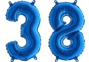 Luftballon Zahl 38 Zahlenballon blau (66 cm)