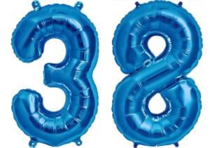 Luftballon Zahl 38 Zahlenballon blau (86 cm)