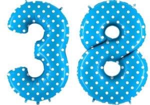 Luftballon Zahl 38 Zahlenballon blau mit weißen Punkten (100 cm)