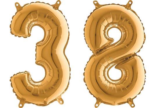 Luftballon Zahl 38 Zahlenballon gold (66 cm)