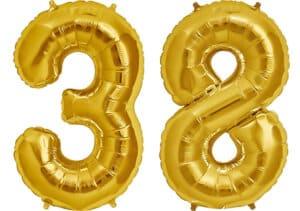 Luftballon Zahl 38 Zahlenballon gold (86 cm)