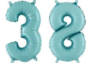 Luftballon Zahl 38 Zahlenballon pastell-blau (100 cm)