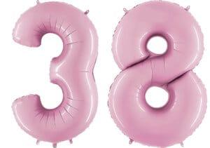 Luftballon Zahl 38 Zahlenballon pastell-pink (100 cm)