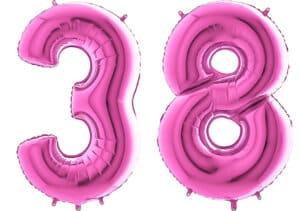 Luftballon Zahl 38 Zahlenballon pink (66 cm)