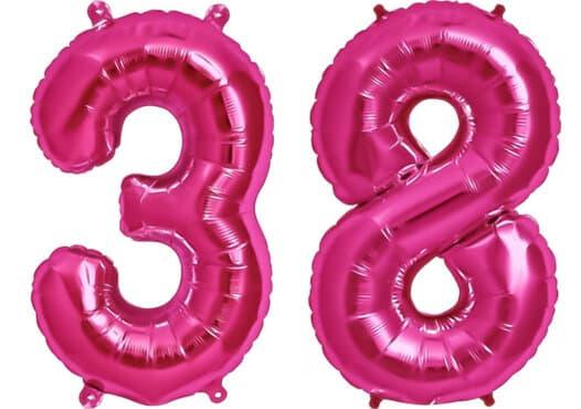 Luftballon Zahl 38 Zahlenballon pink (86 cm)