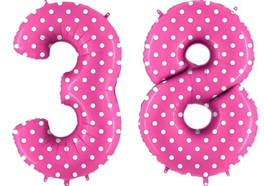 Luftballon Zahl 38 Zahlenballon pink mit weißen Punkten (100 cm)