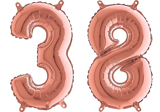 Luftballon Zahl 38 Zahlenballon rosegold (66 cm)