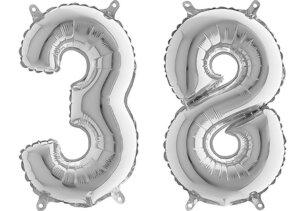 Luftballon Zahl 38 Zahlenballon silber (66 cm)