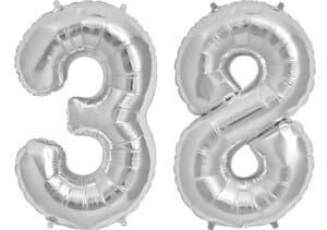 Luftballon Zahl 38 Zahlenballon silber (86 cm)