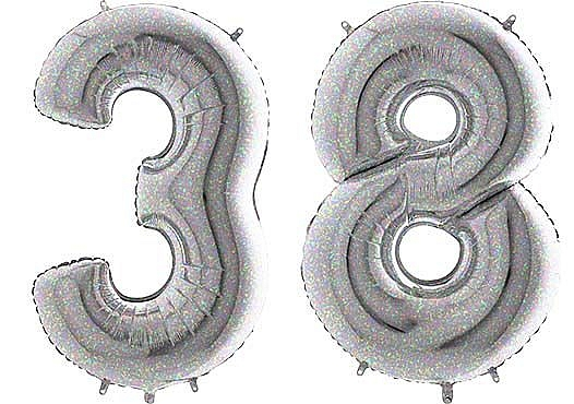Luftballon Zahl 38 Zahlenballon silber-holographic (100 cm)