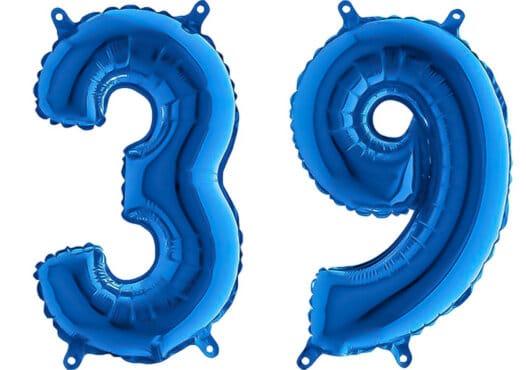 Luftballon Zahl 39 Zahlenballon blau (66 cm)