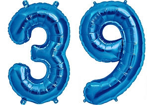 Luftballon Zahl 39 Zahlenballon blau (86 cm)