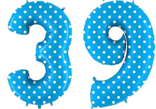 Luftballon Zahl 39 Zahlenballon blau mit weißen Punkten (100 cm)