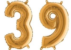 Luftballon Zahl 39 Zahlenballon gold (66 cm)